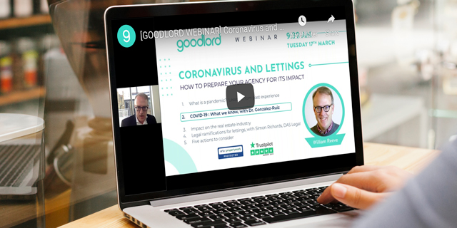 Coronavirus webinar on laptop