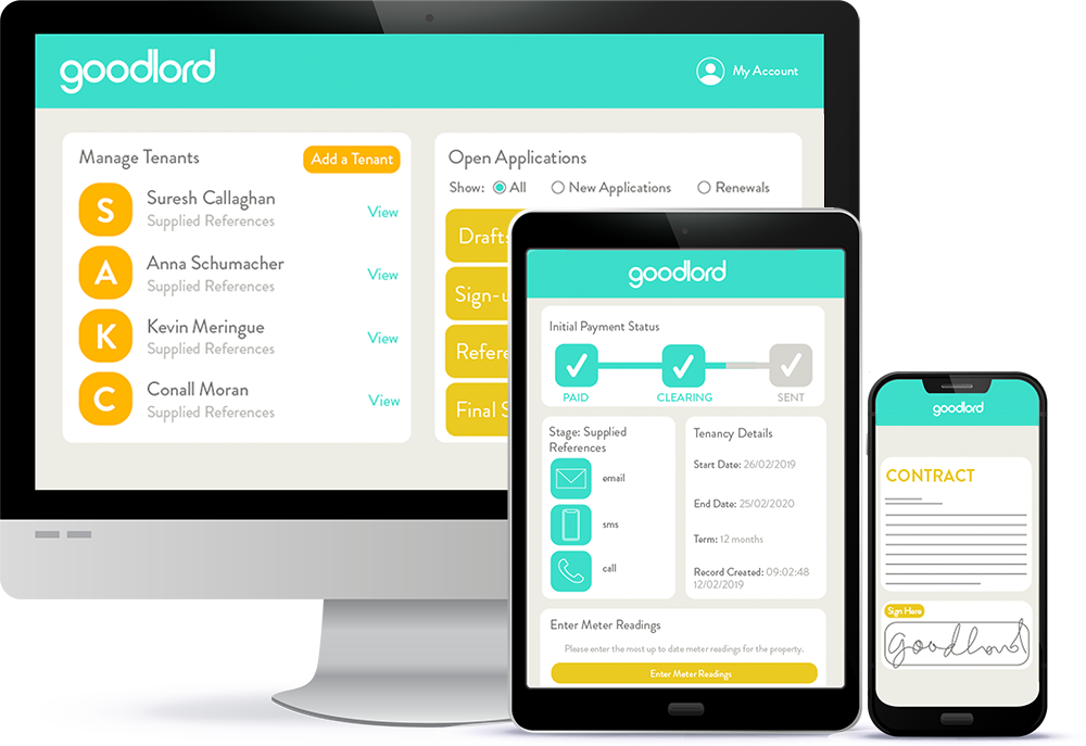 Goodlord's lettings software on desktop, tablet and phone